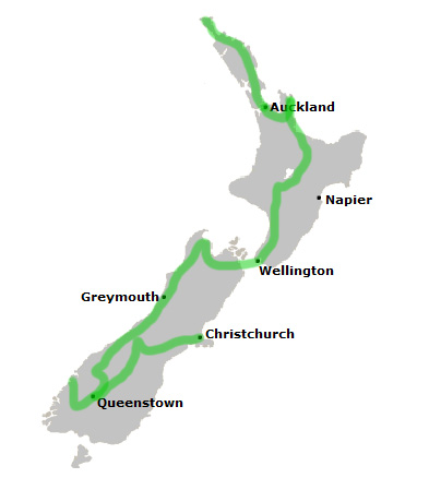 New Zealand Popular Itinerary Route