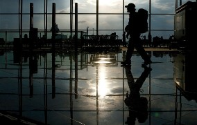 Backpacker in airport